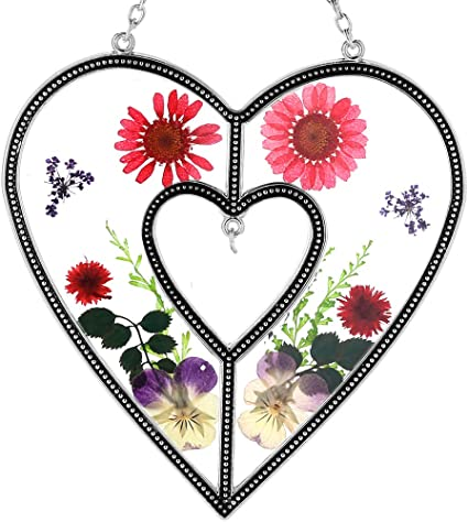 Pressed Flowers Stained Glass Wind Chime Sun Catcher Mobile