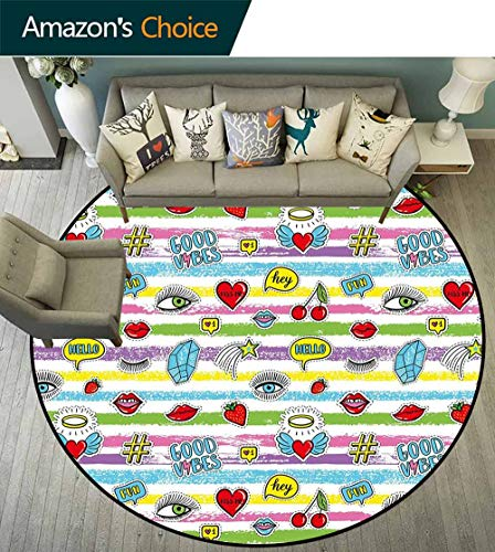 Porcello Bubbles - Good Vibes Round Rug Vintage,Colorful Grungy Stripes Retro Art Elements Eyes Hearts Cherries Speech Bubbles Stain Resistant & Easy to Clean,Multicolor,D-59
