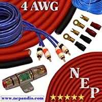 3000W 4 Gauge Amp Kit, 20% Oversized 4 AWG Power & Ground Cable, 100 Amp Mini-ANL Fuse, 10 AWG Speaker Wire & More