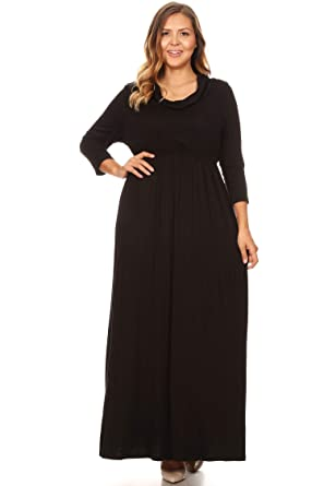 c6b6596afb0 Plus Size Casual Solid Loose Fit 3 4 Sleeve Cowl Neck Pleat Long Maxi Dress