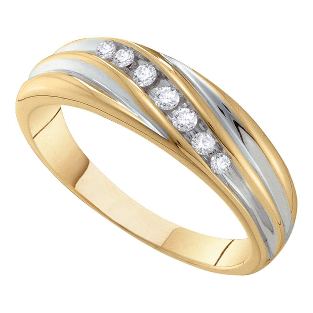 Jewels By Lux 10kt Two-tone Gold Mens Round Diamond Wedding Band Ring 1//6 Cttw In Channel Setting I2-I3 clarity; J-K color