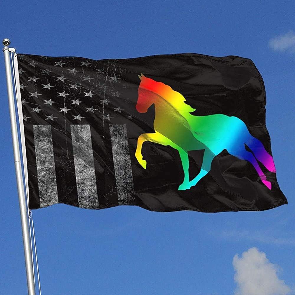Elaine-Shop Banderas al Aire Libre gastadas Bandera de EE. UU. Silueta del Arco Iris Caballo 4 * 6 pies Bandera para decoración del hogar fanático de los Deportes fútbol Baloncesto béisbol Hockey