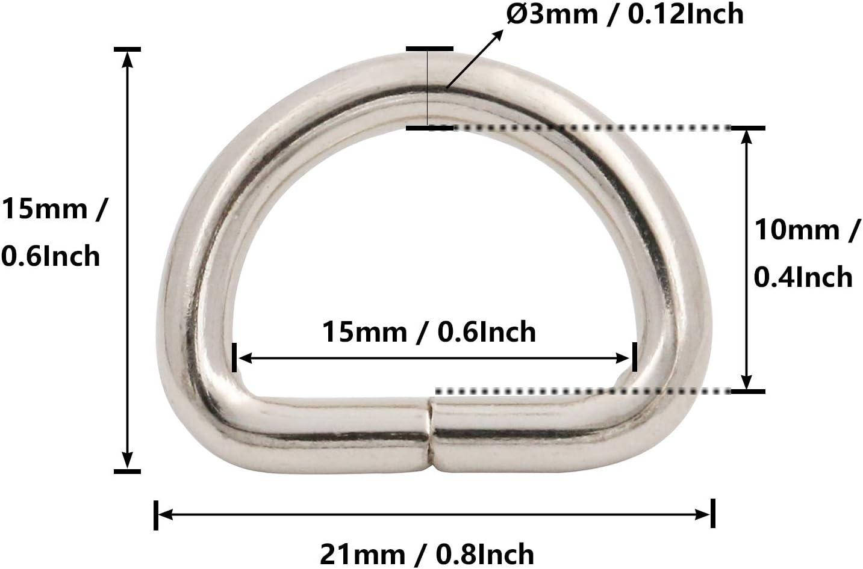 0.6x0.4 Inch Inside Dimensions Silver Pet Collars Shoulder Backpack Webbing Belt Pack of 10 Bag BIKICOCO Metal D Rings Hooks Buckle Strap Adjuster for Purse