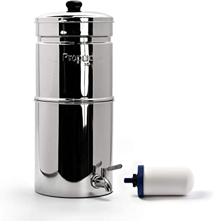 Propur Traveler Countertop Gravity Water Filter System - Removes Fluoride, Lead, Chlorine, Microplastics, and More - Includes 1 ProOne 5-inch Filter Element - Use in Your Home or Office.