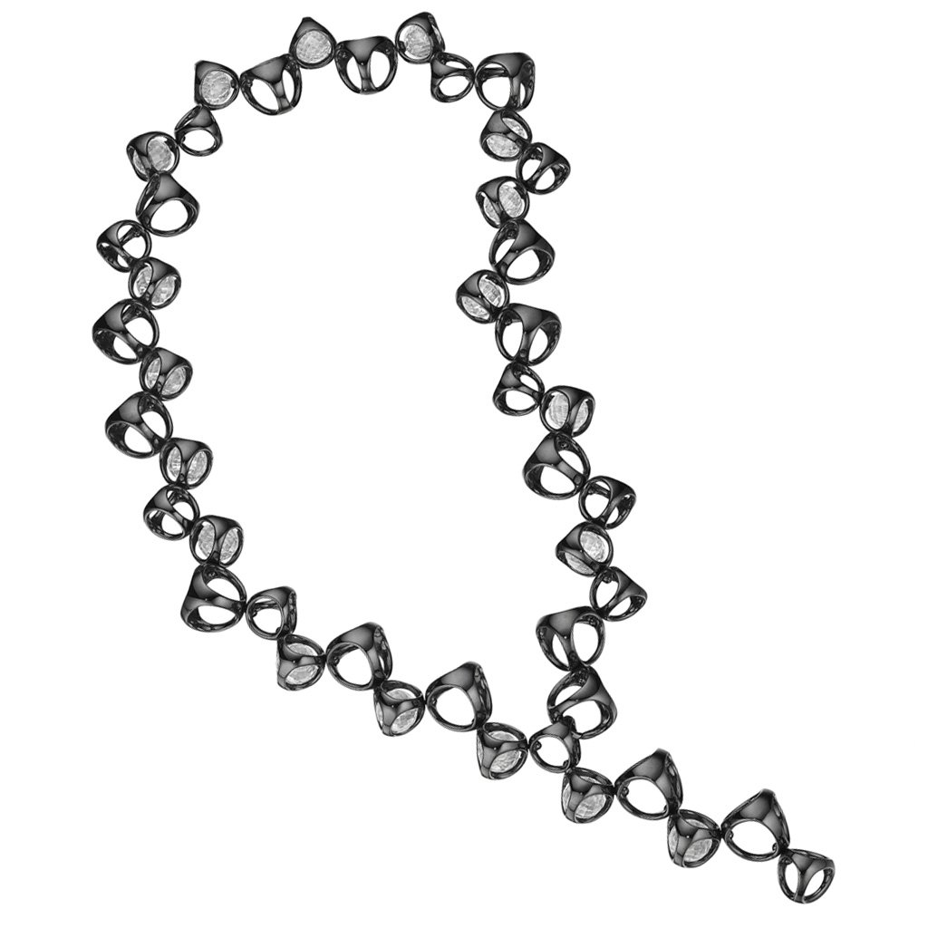 Di MODOLO Icona Black Rhodium & Rock Crystal Necklace in Sterling Silver
