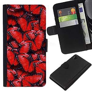 YiPhone /// Tirón de la caja Cartera de cuero con ranuras para tarjetas - Modelo de mariposa rojo - Sony Xperia Z2 D6502