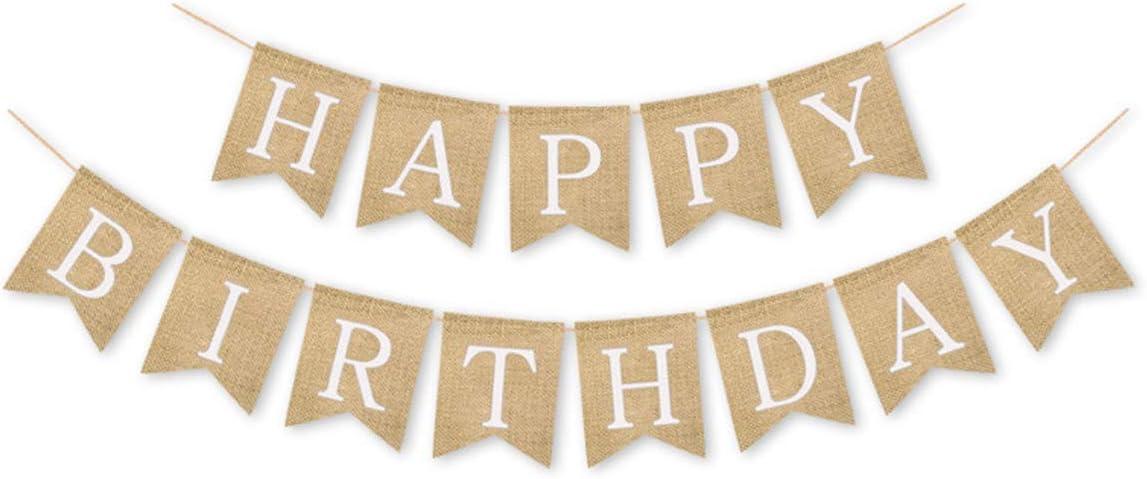 Alphabet Happy Birthday Banner Burlap Birthday Banner Birthday Party Decoration Supplies(White Alphabet)