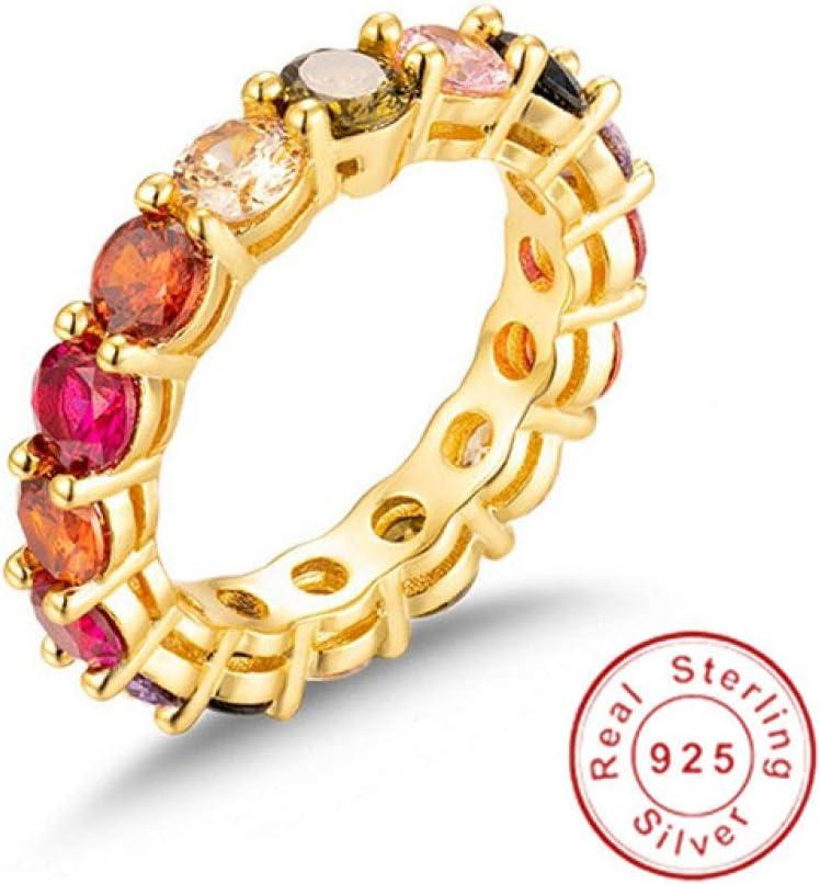 MYLDML Anillo Sapphire Ruby Pave Setting Gemstone Finger 925 Plata Compromiso Anillo DE Banda DE Boda