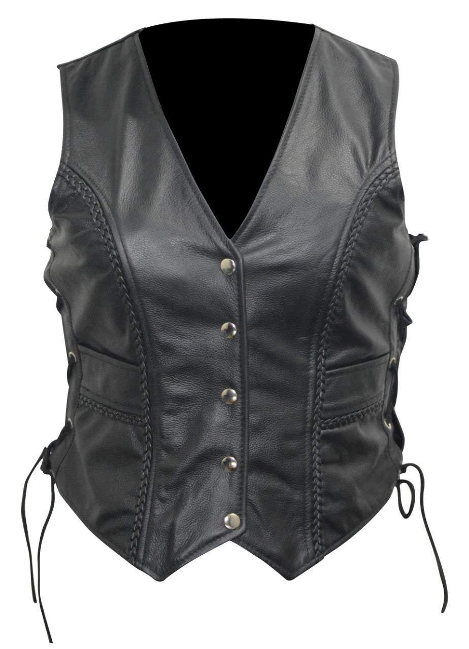 2Fit Your Fitness Partner Pour femmes Vachette Cuir v/éritable Uni pour moto motard Gilet Gilet en noir