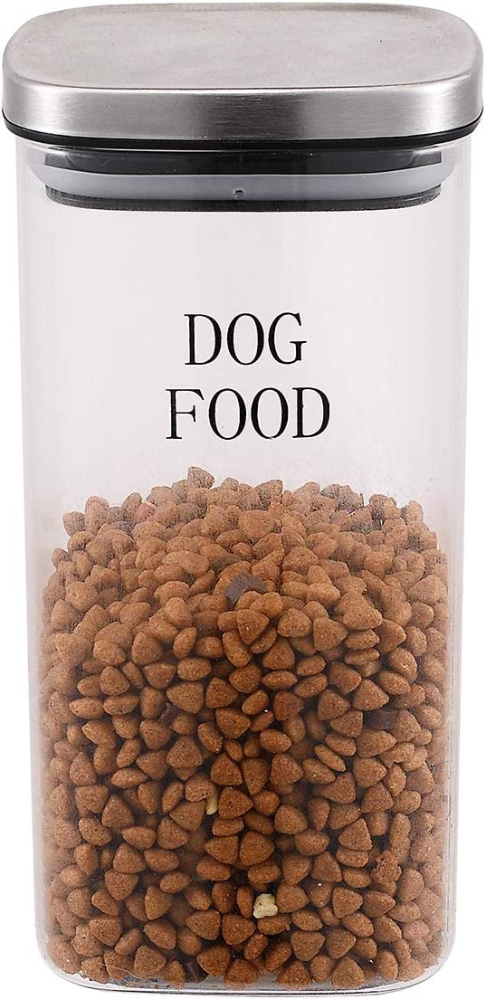 Pethiy Dog Food and Treats Storage Container - Clear Glass - Storage Canister Tins