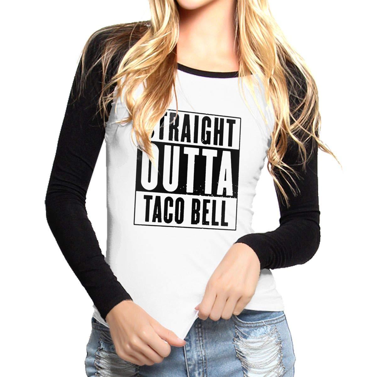 85661663b Amazon.com: Straight Outta Taco Bell Womens Baseball Tee Shirts Long-Sleeve  Women's Raglan Tops Black: Clothing