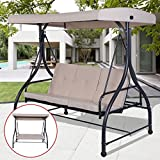 Premium Patio Swing Chair Bed Convertible 3 Seater With Canopy And Firm Cushions Perfect Set For Patio, Garden, Outdoor, Porch And Poolside. (Beige)