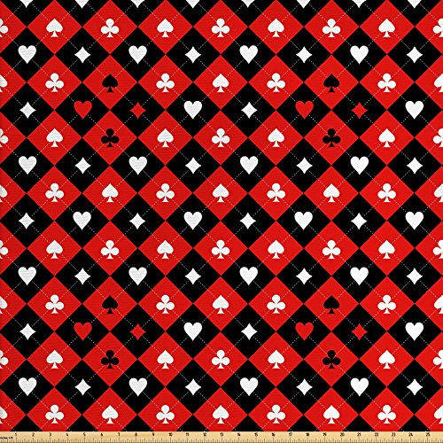 Lunarable Poker Tournament Decorations Fabric by The Yard, Card Suit Chess Board Classic Checkered Pattern Symbols, Decorative Fabric for Upholstery and Home Accents, Red Black - Poker Chess