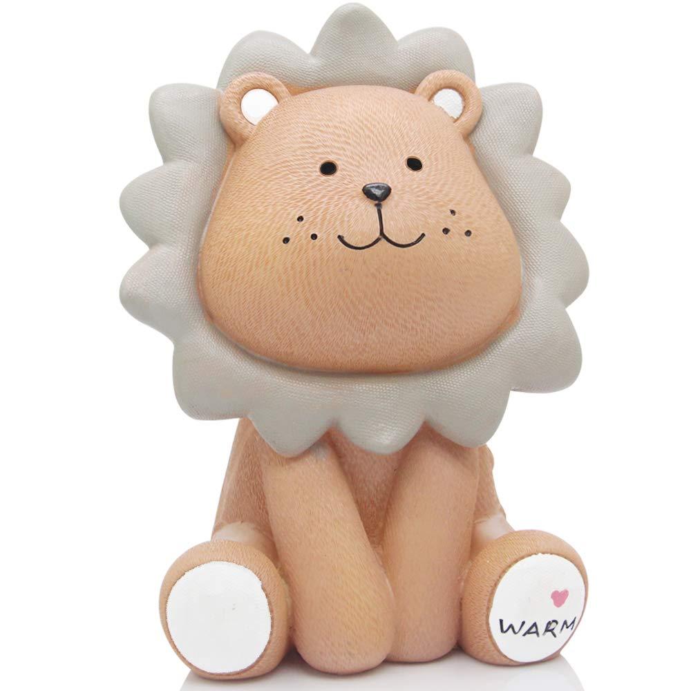 H&W Cute Lion Coin Bank for Kids (Yellow), Money Box, Sunny Lion Piggy Bank, Best Gift for Children (WK010-D1)