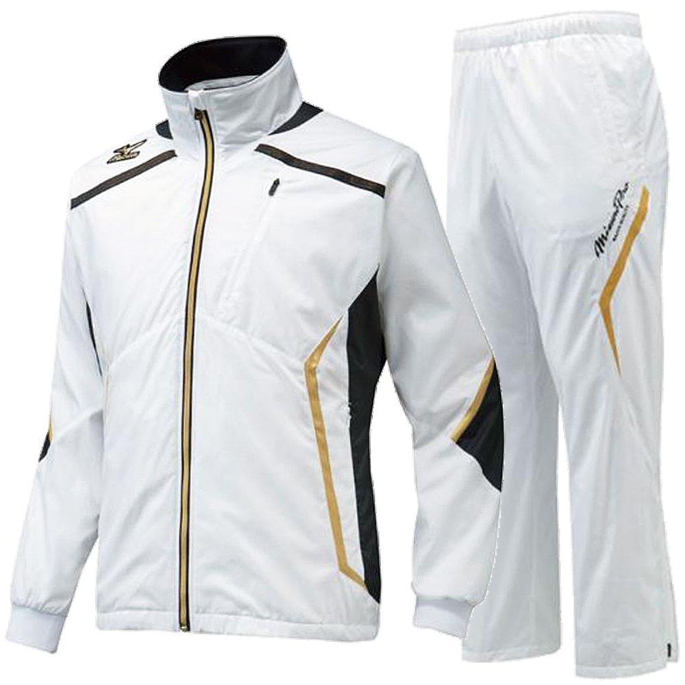 MIZUNO PRO ミズノプロ ブレスウインドブレーカーシャツ&ブレスウインドブレーカーパンツ 12JE5W8401-12JF5W8401 /上下 Lサイズ ホワイト×ブラック B01MV2YKUL