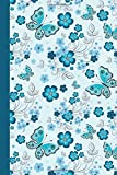 Journal: Floral with Butterflies (Blue) 6x9 - LINED JOURNAL - Journal with lined pages - (Diary, Notebook) (Birds & Buttte...