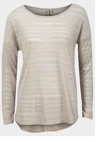 Mujer top de rayas de burn-out Luz Sheer tela tejida de manga larga camisa: Amazon.es: Ropa y accesorios