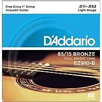 Encordoamento Para Violão Aço .011-.052 Com Corda Extra PL011 D'Addario Bronze 85/15 EZ910-B