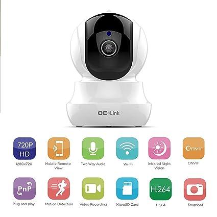 CE-Link IP Cámara WiFi Camaras de Vigilancia Inalámbrico Wireless 720P HD Zoom P2P IR