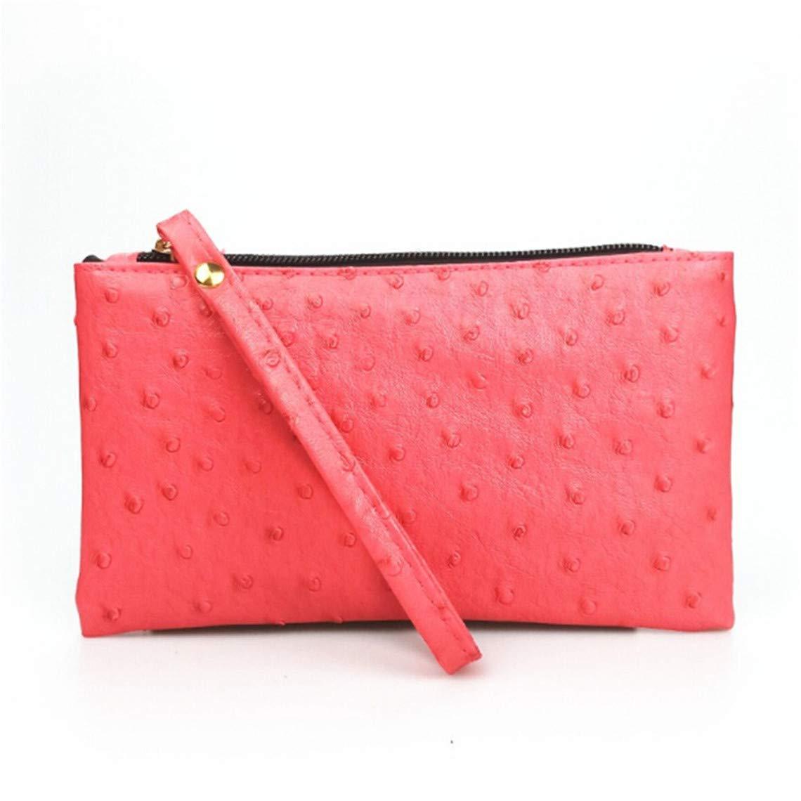 Rurah Ostrich Pattern Long Purse Key Coin Handbags Women Phone Bag Clutch Wristlet Zippers Organizer Wedding Party Evening Dress Bag,Red by Rurah (Image #1)