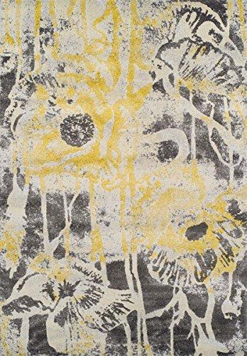 Super Area Rugs Yellow Rug Modern Contemporary Design 5 3 X 7 7 Soft Graffiti Carpet
