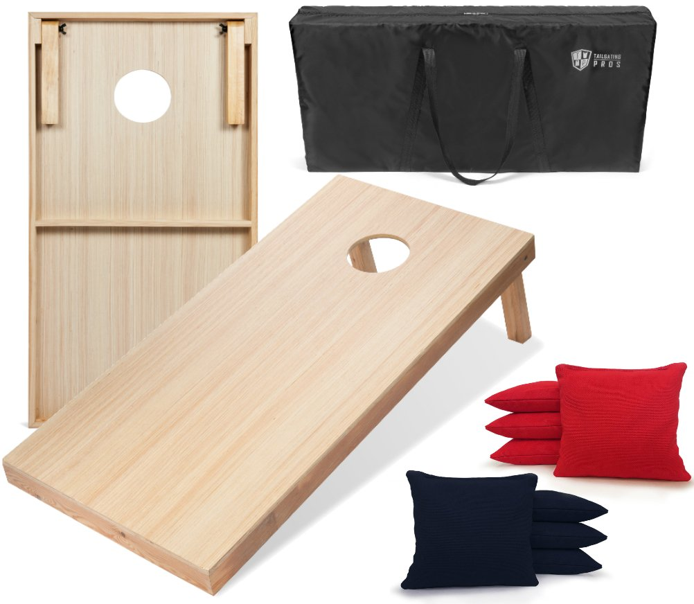 Tailgating Pros 4'x2' WoodGrain Finish Cornhole Boards w/Carrying Case & set of 8 Cornhole Bags (YOU PICK COLOR) 25 Bag Colors! (Red/Navy Blue) by Tailgating Pros