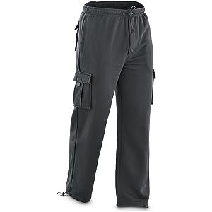 Vibes ProActive Men Royal Blue Fleece Relax Fit Cargo Pants Drawstring