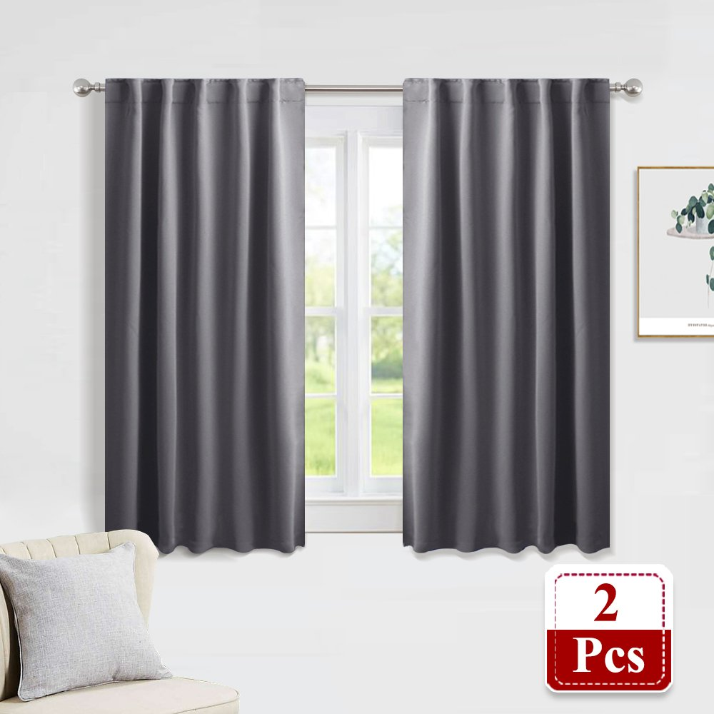 PONY DANCE Gray Blackout Curtains - Window Treatments Thermal Insulated Light Blocking Drapes Back Tab/Rod Pocket Curtain Panels for Bedroom Living Room, 42'' W x 45'' L, Grey, 1 Pair