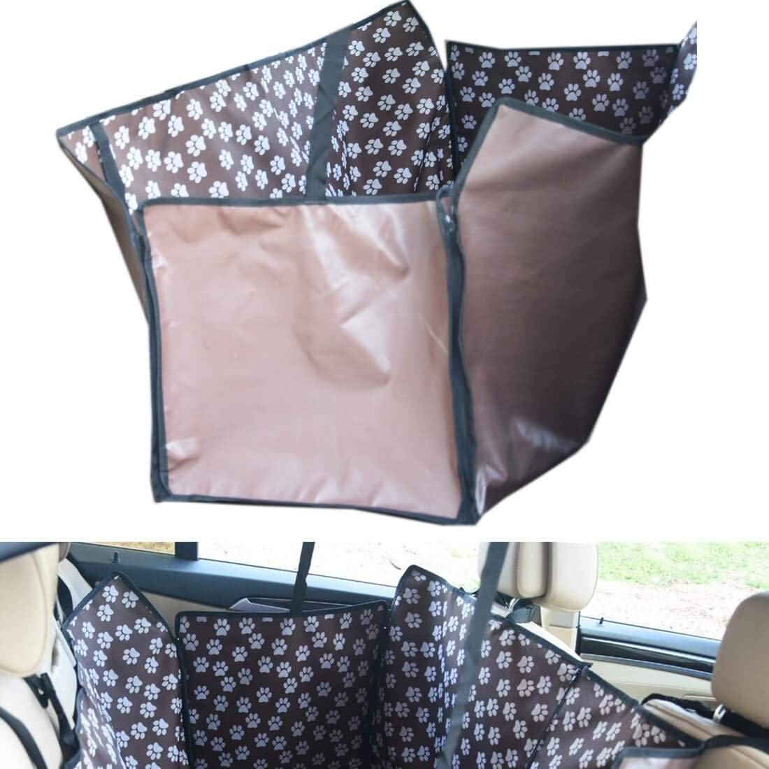 Car Back Two Seat Waterproof Pet Mat Featured with Safety Buckle and Safety Exit Design