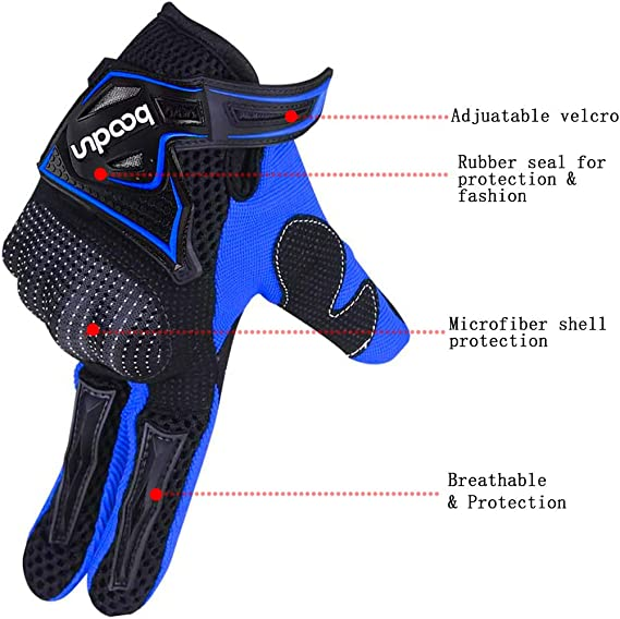 ARTOP Guanti da Moto Nero,XL Guanti da Cross Traspirante da Moto con Guscio Protettivo in PVC per Uomo Primavera-Estate-Autunno