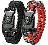 "A2S Protection Paracord Bracelet K2-Peak – Survival Gear Kit with Embedded Compass, Fire Starter, Emergency Knife & Whistle (Black / Red 8.5"")"
