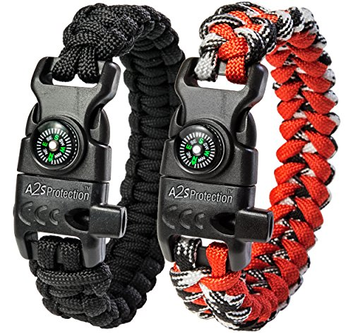 A2S Protection Paracord Bracelet K2-Peak – Survival Gear Kit with Embedded Compass, Fire Starter, Emergency Knife & Whistle (Black / Red 8.5″)