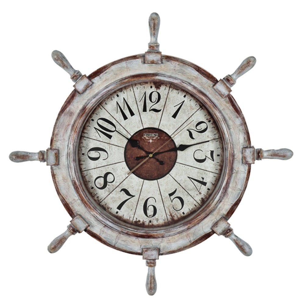 GDXRB 地中海スタイルアンカー時計ビーチ海テーマナシ天国の操縦舵ラダー壁掛け装飾シンプルなパーソナリティクオーツ時計ミュート(66x66x6.8cm) (Color : D) B07DCZ4MLTD