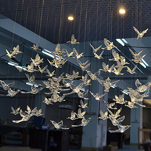 Laugh Cat Creative DIY Flying Bird Decorative Ceiling Hanging Ornaments Christmas Tree for Home Kindergarten Shopping Mall Home Table Window Nature Decoration (10, Transparent)