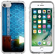 MSD Apple iPhone 7/iPhone 8 Clear case Soft TPU Rubber Silicone Bumper Snap Cases iPhone7/8 IMAGE 29680660 Vintage lamp in retro blue toned interior Rococo fashion decor Rustic wallpapper Luxurt conc