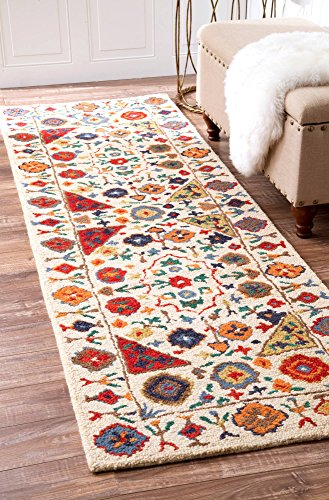 nuLOOM Bohemian Floral Border Hand Made Woolen Runner Area Rugs, 2' 6