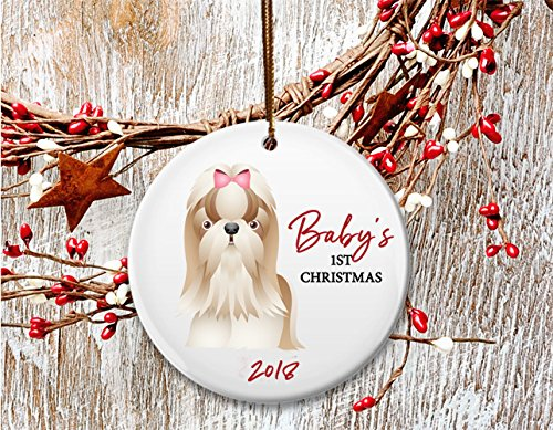 New Dog mom Christmas ornament, Baby's 1st Christmas, Lhasa Apso, Shih Tzu puppy- Dated 2018 (Christmas Ornament Lhasa Apso)
