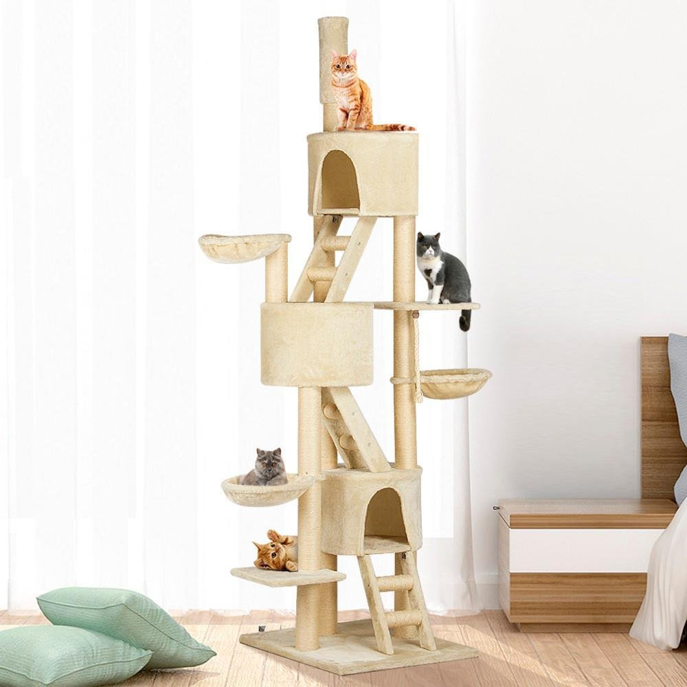 Yaheetech Huge Cat Tree Furniture Adjustable Height 92-106inch Beige