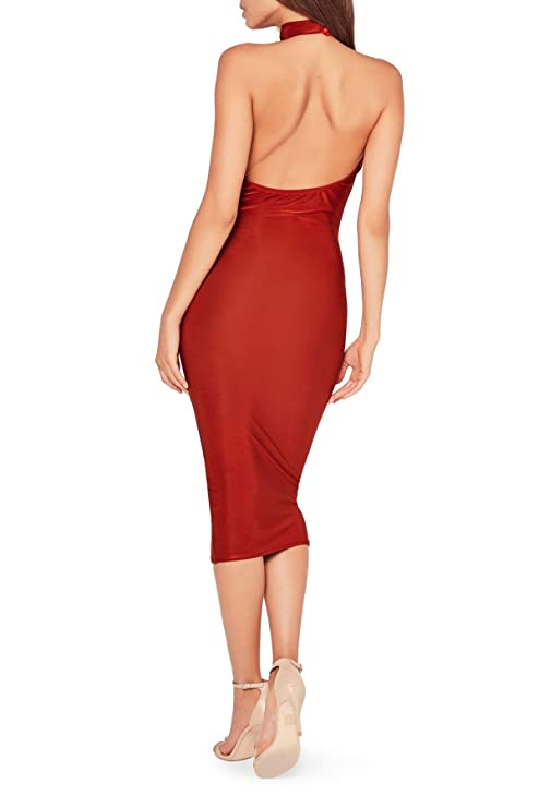 Missguided Choker Cowl Neck Midi Dress for Women in Red, 4 at Amazon Womens Clothing store:
