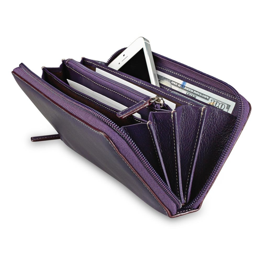 Levenger Accordion Wallet W/Walletini Pen - Grape by Levenger