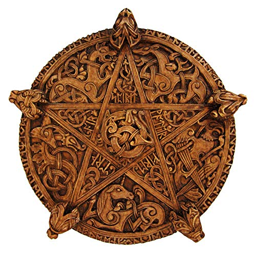 (Dryad Design Large Knotwork Pentacle Wall Plaque Wood Finish )