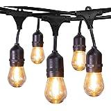 Jslinter Outdoor String Lights Plug in 48 Ft UL Listed Commercial Grade Waterproof IP65 Hanging Light with 1 Watt S14…