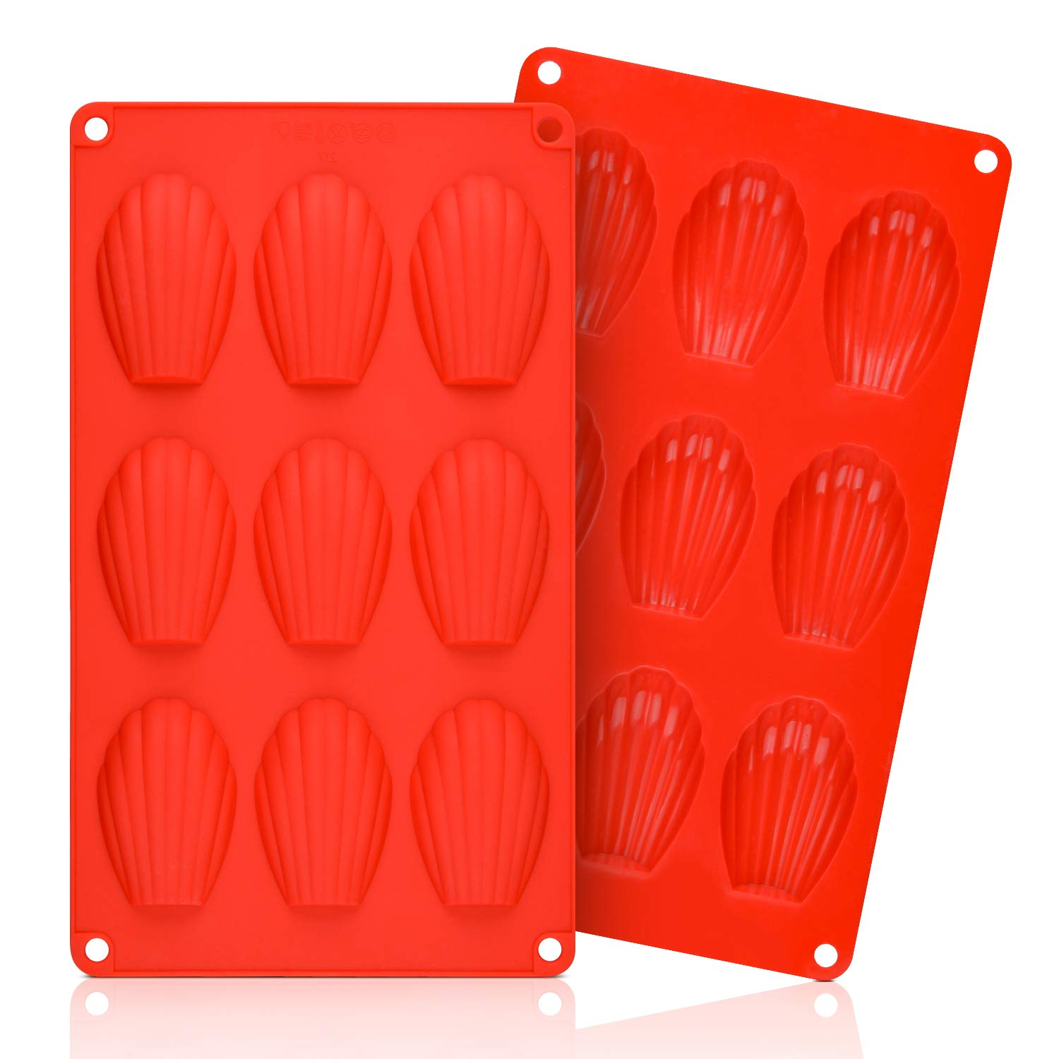 Silicone Madeleine Pans - 9 Cups Madeleine Mold for Small Cake, Chocolate, Cookies Pack of 2 by CAKETIME (Image #1)