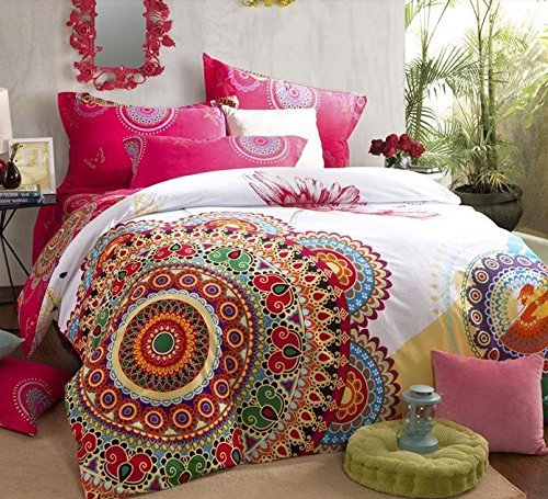 LELVA Boho Style Bedding Set,Boho Duvet Cover Set,Bohemian Bedding Set,Queen,4Pcs (2, King)