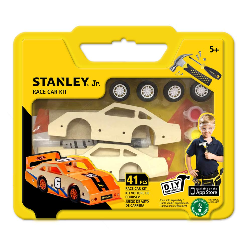 Amazon.com: Stanley Jr Custom Orange Race Car - DIY Model Car Kits for Kids - Easy to Assemble Race Car Building Set - Wood Racecar Kit - Wooden Race Car ...