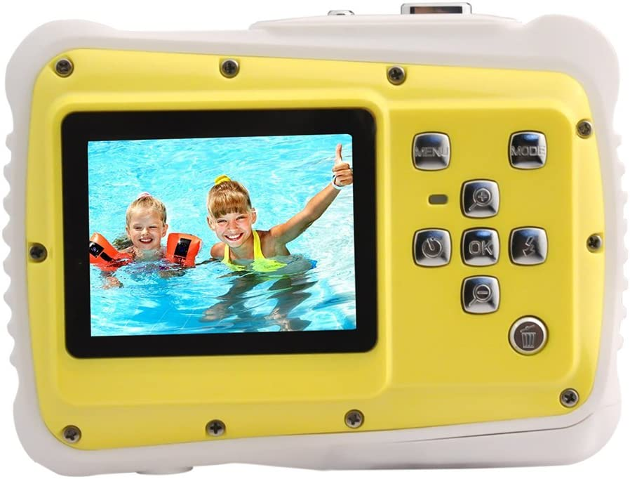 "Per Children Digital Camera Waterproof Camcorders Video Camera with 2"" LCD Screen 3M Underwater for Kids Playing Party Outdoors-Yellow"