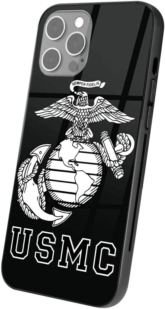 Phone Glass Case for iPhone 12/12 Pro Vintage United States Marine_Corps Print Phone Case TPU Protective Shockproof Scratch-Proof Phone Covers