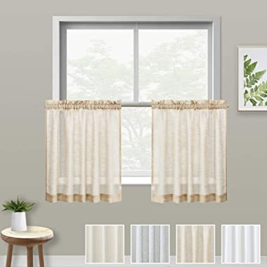 XWTEX Kitchen Tiers Curtains for Bedroom Linen Textured Semi Sheer Window Curtain Panels Cafe Curtains, Pol Top, 1 Pair, 24  Length, Taupe