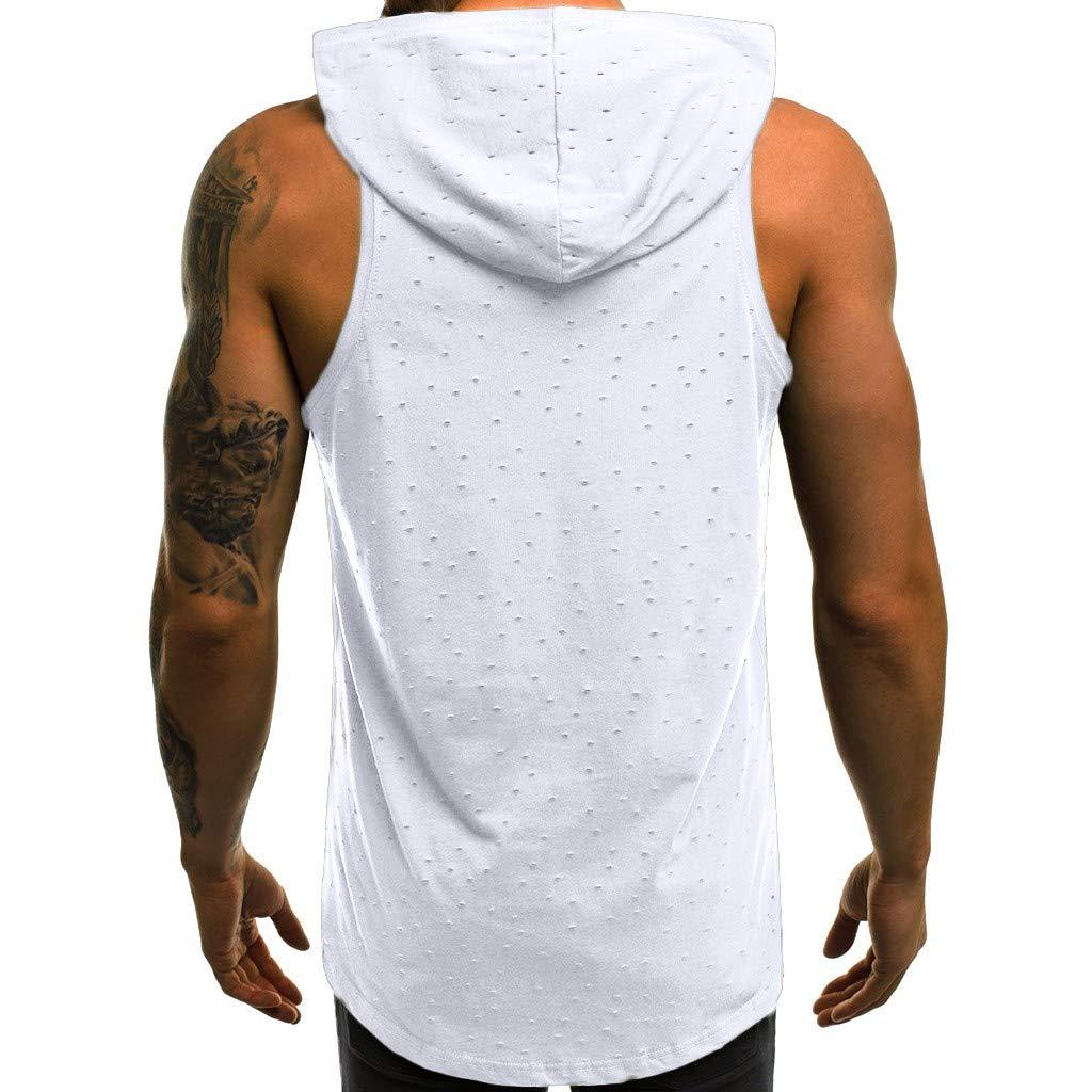 JiaMeng Camisetas El/ástica de Fitness sin Mangas Tank Top Gym para Hombre Fitness Muscle Estampado sin Mangas con Capucha Culturismo Bolsillos de Secado Ajustado