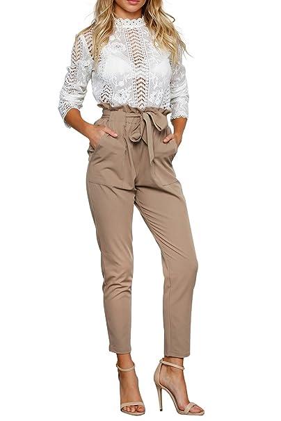 Annybar Damen Lang Hose Elegant High Waist Chiffon Locker Business  Sommerhose  Amazon.de  Bekleidung 4bf87aa3dd